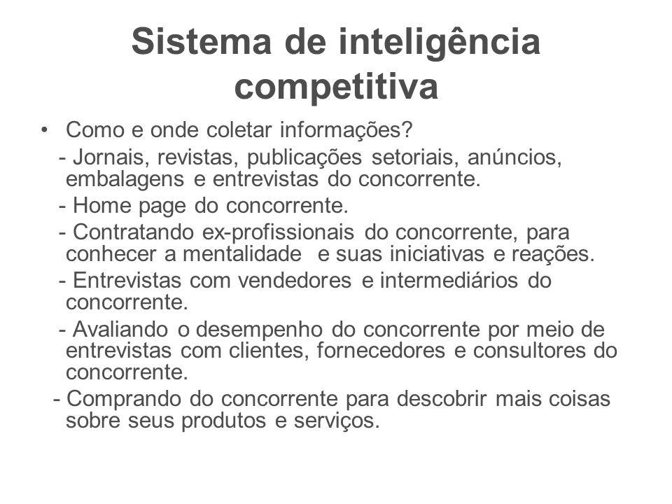 Sistema de inteligência competitiva Como e onde coletar informações? - Jornais, revistas, publicações setoriais, anúncios, embalagens e entrevistas do