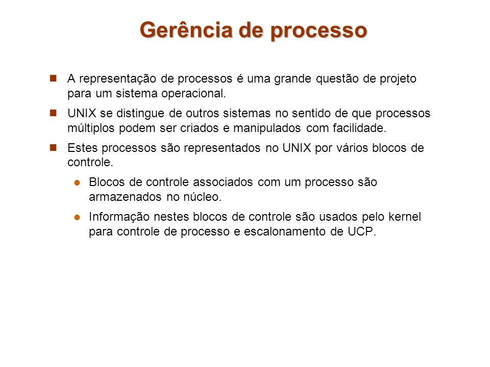 Gerência de processo A representação de processos é uma grande questão de projeto para um sistema operacional. UNIX se distingue de outros sistemas no