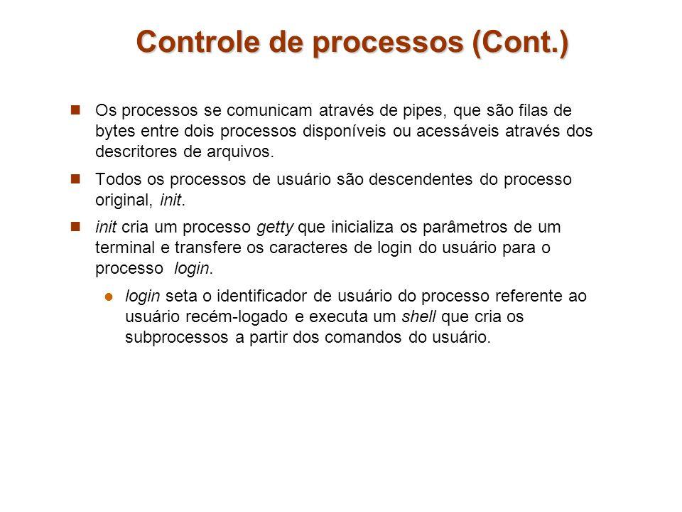 Controle de processos (Cont.) Os processos se comunicam através de pipes, que são filas de bytes entre dois processos disponíveis ou acessáveis atravé