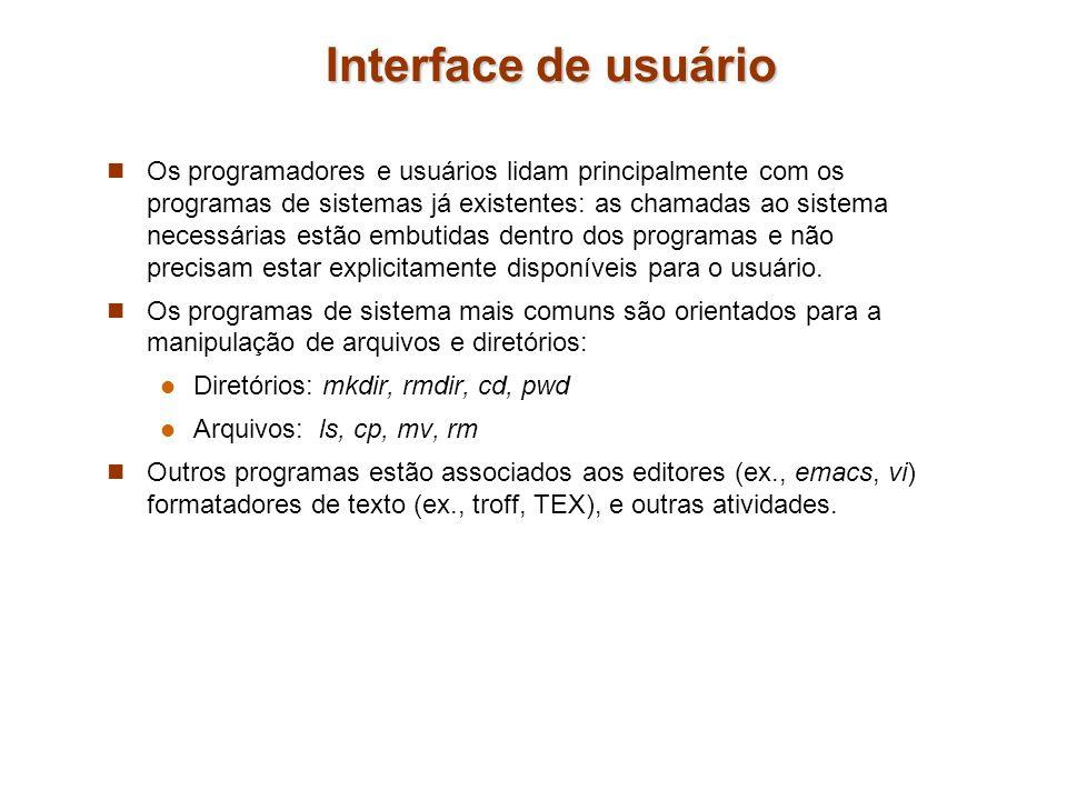 Interface de usuário Os programadores e usuários lidam principalmente com os programas de sistemas já existentes: as chamadas ao sistema necessárias e