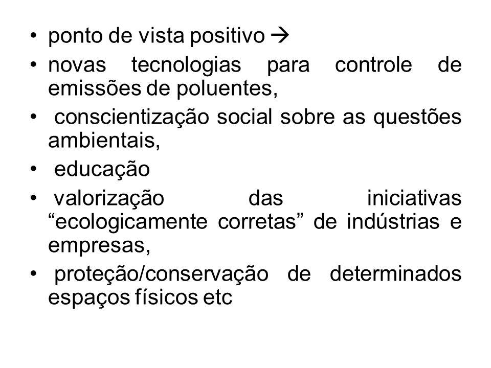 ponto de vista positivo novas tecnologias para controle de emissões de poluentes, conscientização social sobre as questões ambientais, educação valori