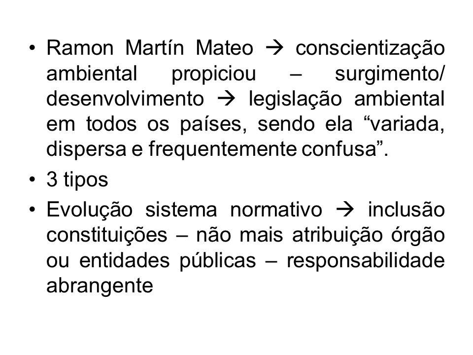 Ramon Martín Mateo conscientização ambiental propiciou – surgimento/ desenvolvimento legislação ambiental em todos os países, sendo ela variada, dispe