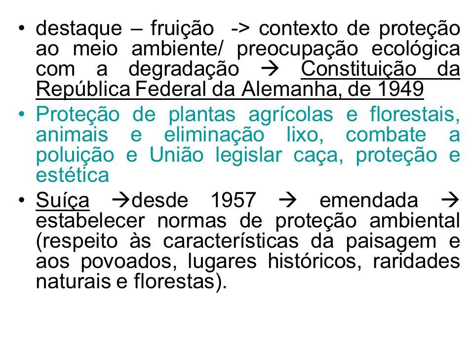 destaque – fruição -> contexto de proteção ao meio ambiente/ preocupação ecológica com a degradação Constituição da República Federal da Alemanha, de