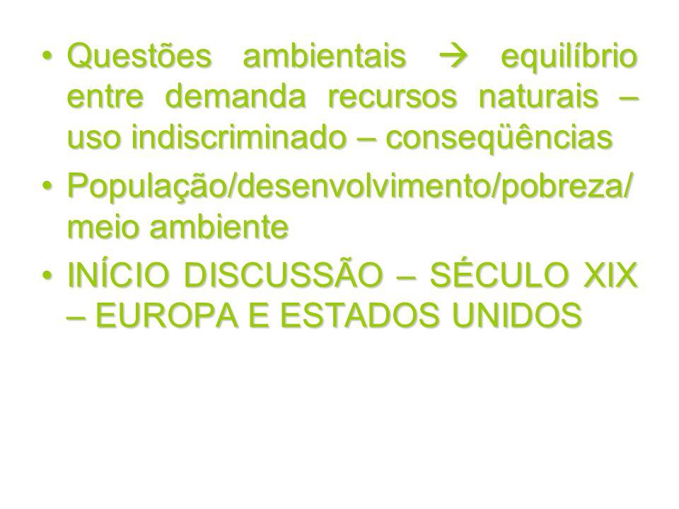 Questões ambientais equilíbrio entre demanda recursos naturais – uso indiscriminado – conseqüênciasQuestões ambientais equilíbrio entre demanda recurs
