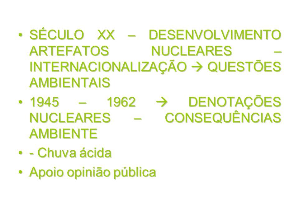 SÉCULO XX – DESENVOLVIMENTO ARTEFATOS NUCLEARES – INTERNACIONALIZAÇÃO QUESTÕES AMBIENTAISSÉCULO XX – DESENVOLVIMENTO ARTEFATOS NUCLEARES – INTERNACION