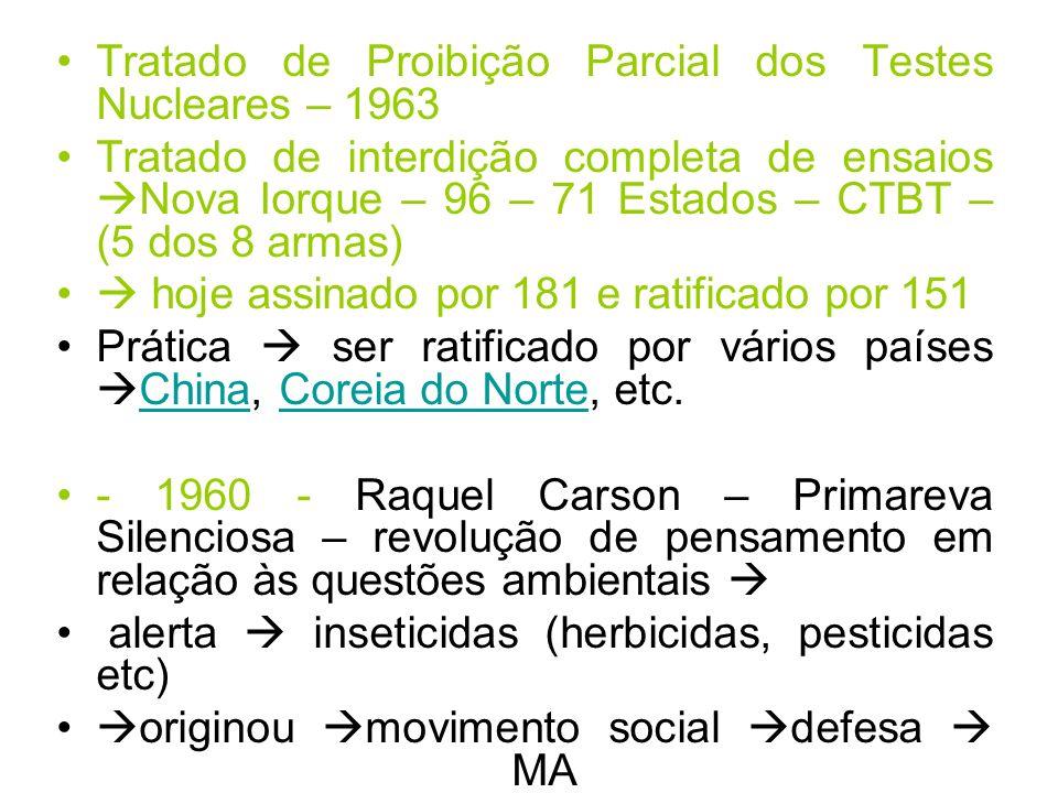 Tratado de Proibição Parcial dos Testes Nucleares – 1963 Tratado de interdição completa de ensaios Nova Iorque – 96 – 71 Estados – CTBT – (5 dos 8 arm