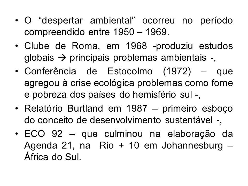 O despertar ambiental ocorreu no período compreendido entre 1950 – 1969. Clube de Roma, em 1968 -produziu estudos globais principais problemas ambient