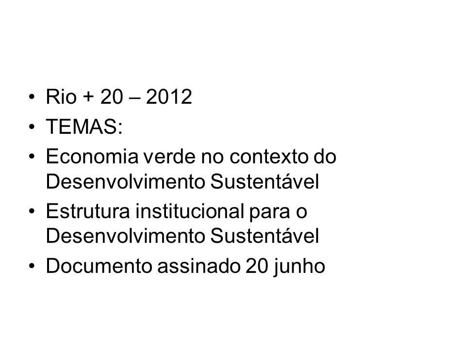 Rio + 20 – 2012 TEMAS: Economia verde no contexto do Desenvolvimento Sustentável Estrutura institucional para o Desenvolvimento Sustentável Documento