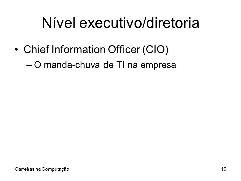 Carreiras na Computação10 Nível executivo/diretoria Chief Information Officer (CIO) –O manda-chuva de TI na empresa