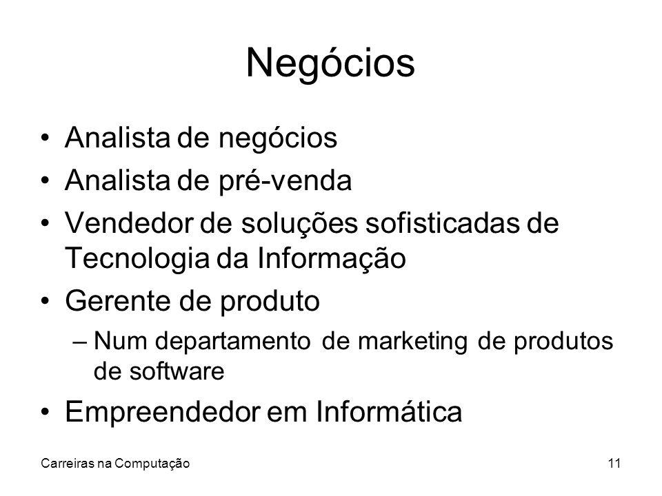 Carreiras na Computação11 Negócios Analista de negócios Analista de pré-venda Vendedor de soluções sofisticadas de Tecnologia da Informação Gerente de