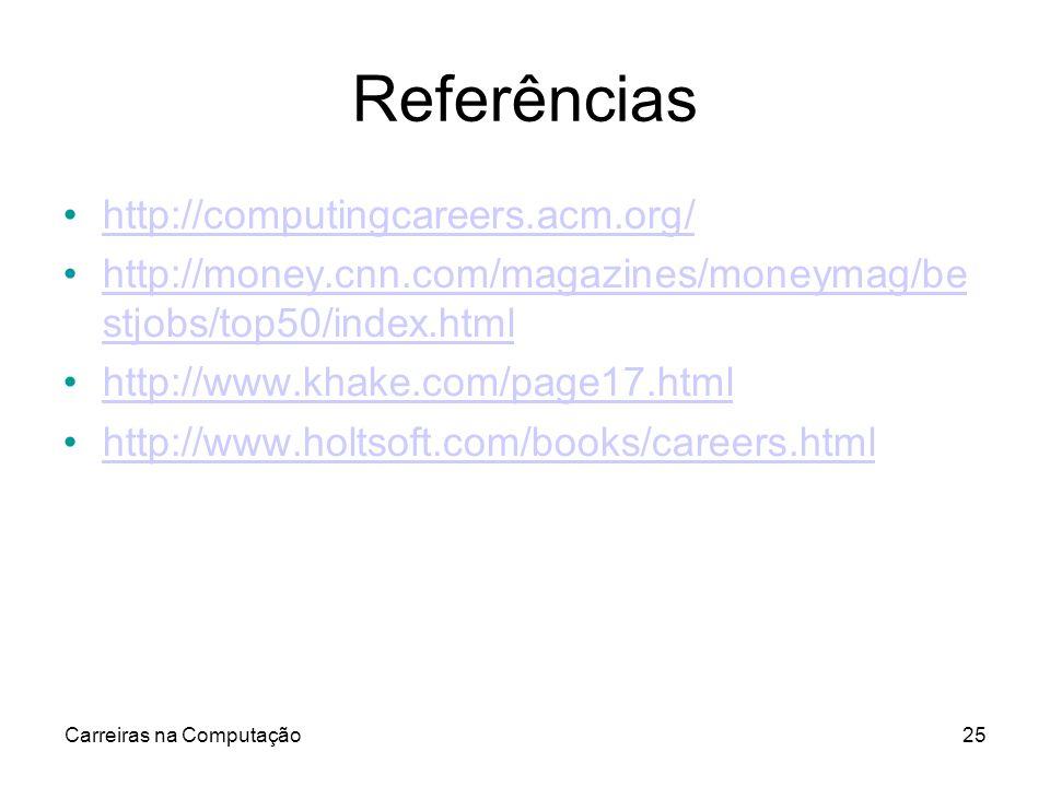 Carreiras na Computação25 Referências http://computingcareers.acm.org/ http://money.cnn.com/magazines/moneymag/be stjobs/top50/index.htmlhttp://money.