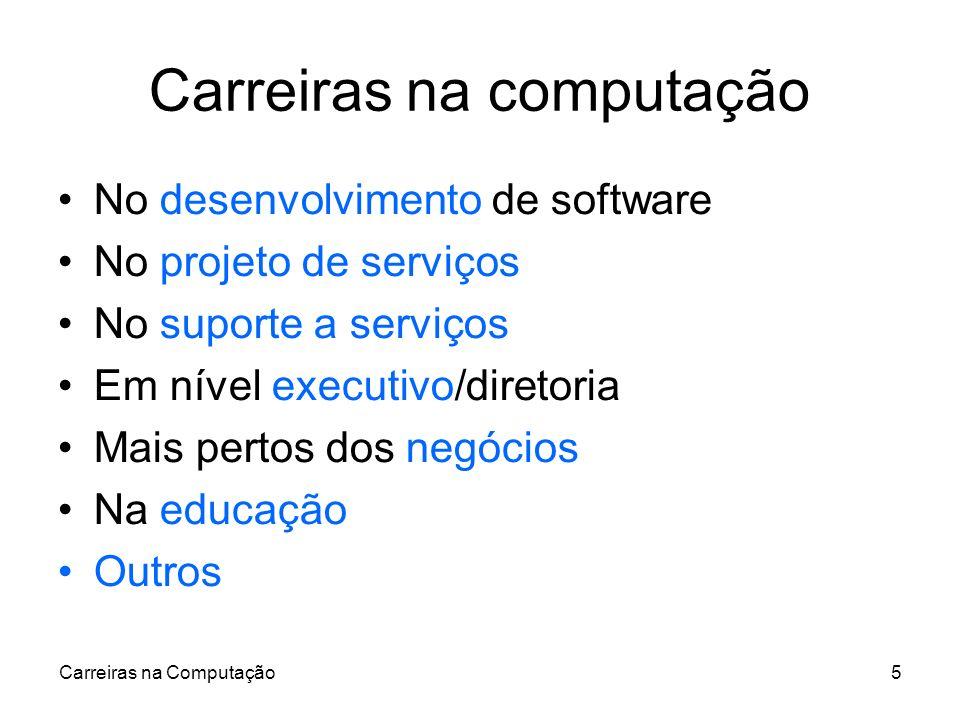 Carreiras na Computação5 Carreiras na computação No desenvolvimento de software No projeto de serviços No suporte a serviços Em nível executivo/direto
