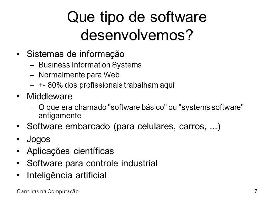 Carreiras na Computação7 Que tipo de software desenvolvemos? Sistemas de informação –Business Information Systems –Normalmente para Web –+- 80% dos pr