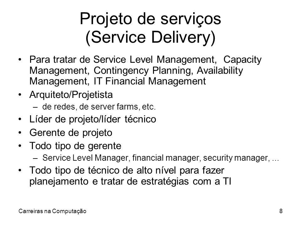 Carreiras na Computação8 Projeto de serviços (Service Delivery) Para tratar de Service Level Management, Capacity Management, Contingency Planning, Av