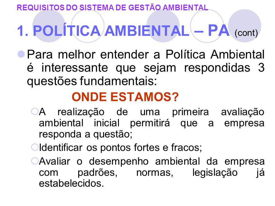 REQUISITOS DO SISTEMA DE GESTÃO AMBIENTAL 1. POLÍTICA AMBIENTAL – PA (cont) Para melhor entender a Política Ambiental é interessante que sejam respond