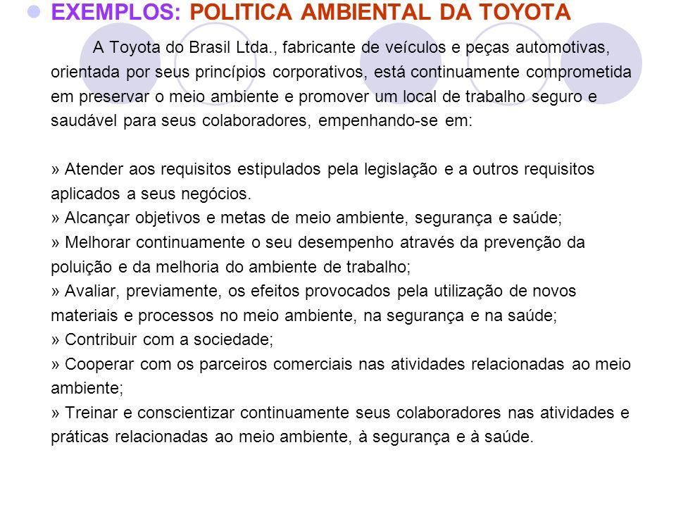EXEMPLOS: POLITICA AMBIENTAL DA TOYOTA A Toyota do Brasil Ltda., fabricante de veículos e peças automotivas, orientada por seus princípios corporativo