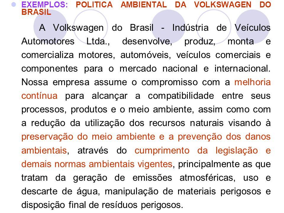 EXEMPLOS: POLITICA AMBIENTAL DA VOLKSWAGEN DO BRASIL A Volkswagen do Brasil - Indústria de Veículos Automotores Ltda., desenvolve, produz, monta e com
