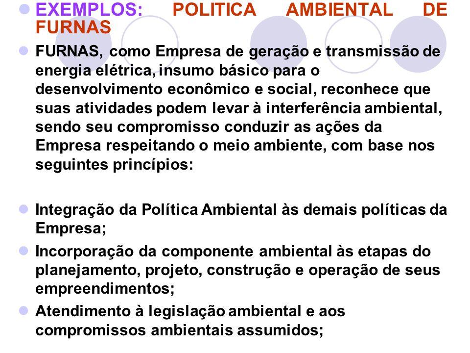 EXEMPLOS: POLITICA AMBIENTAL DE FURNAS FURNAS, como Empresa de geração e transmissão de energia elétrica, insumo básico para o desenvolvimento econômi