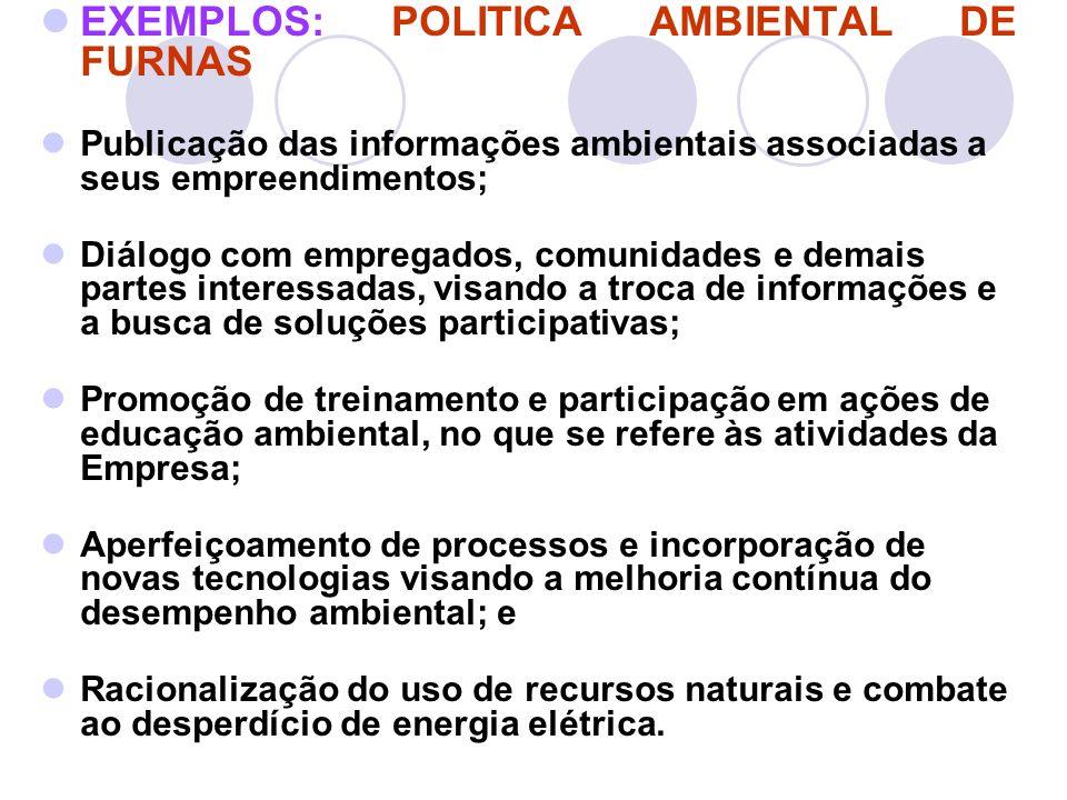 EXEMPLOS: POLITICA AMBIENTAL DE FURNAS Publicação das informações ambientais associadas a seus empreendimentos; Diálogo com empregados, comunidades e
