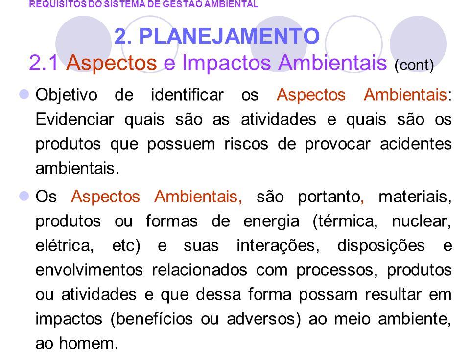REQUISITOS DO SISTEMA DE GESTÃO AMBIENTAL 2. PLANEJAMENTO 2.1 Aspectos e Impactos Ambientais (cont) Objetivo de identificar os Aspectos Ambientais: Ev