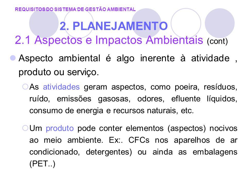 REQUISITOS DO SISTEMA DE GESTÃO AMBIENTAL 2. PLANEJAMENTO 2.1 Aspectos e Impactos Ambientais (cont) Aspecto ambiental é algo inerente à atividade, pro