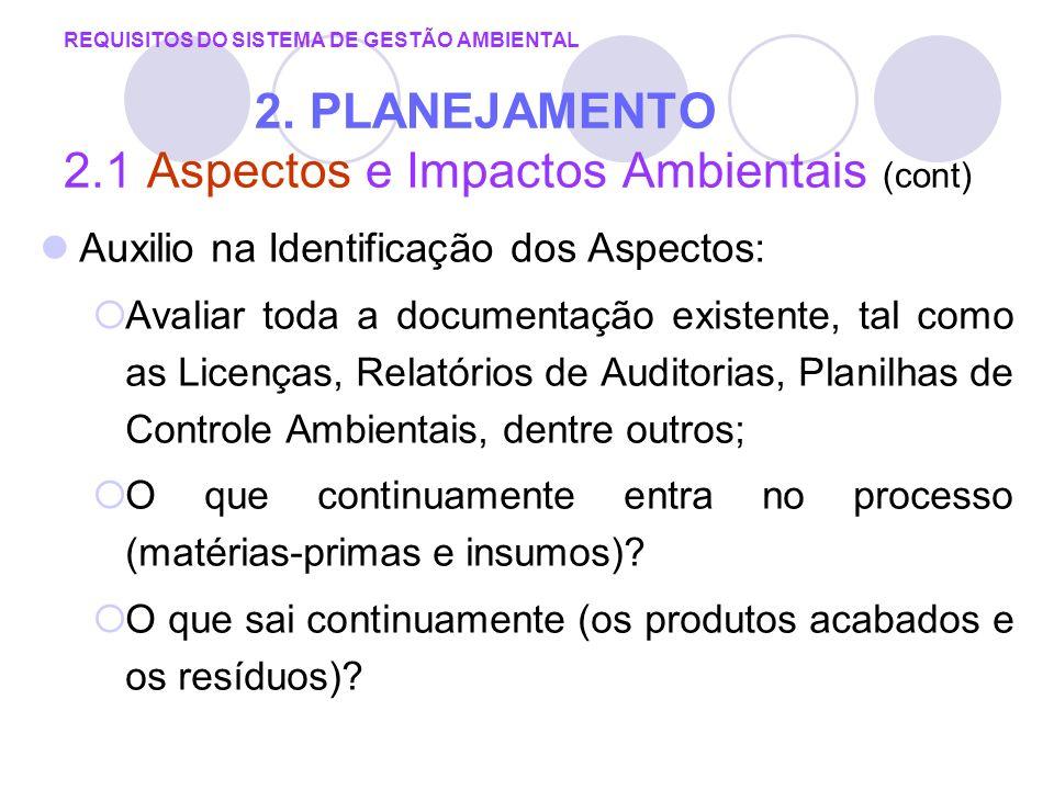 REQUISITOS DO SISTEMA DE GESTÃO AMBIENTAL 2. PLANEJAMENTO 2.1 Aspectos e Impactos Ambientais (cont) Auxilio na Identificação dos Aspectos: Avaliar tod