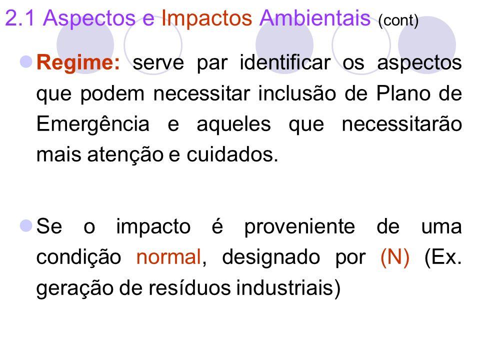 2.1 Aspectos e Impactos Ambientais (cont) Regime: serve par identificar os aspectos que podem necessitar inclusão de Plano de Emergência e aqueles que