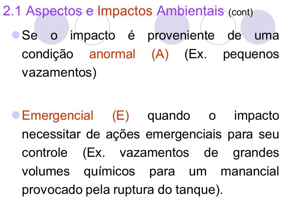 2.1 Aspectos e Impactos Ambientais (cont) Se o impacto é proveniente de uma condição anormal (A) (Ex. pequenos vazamentos) Emergencial (E) quando o im