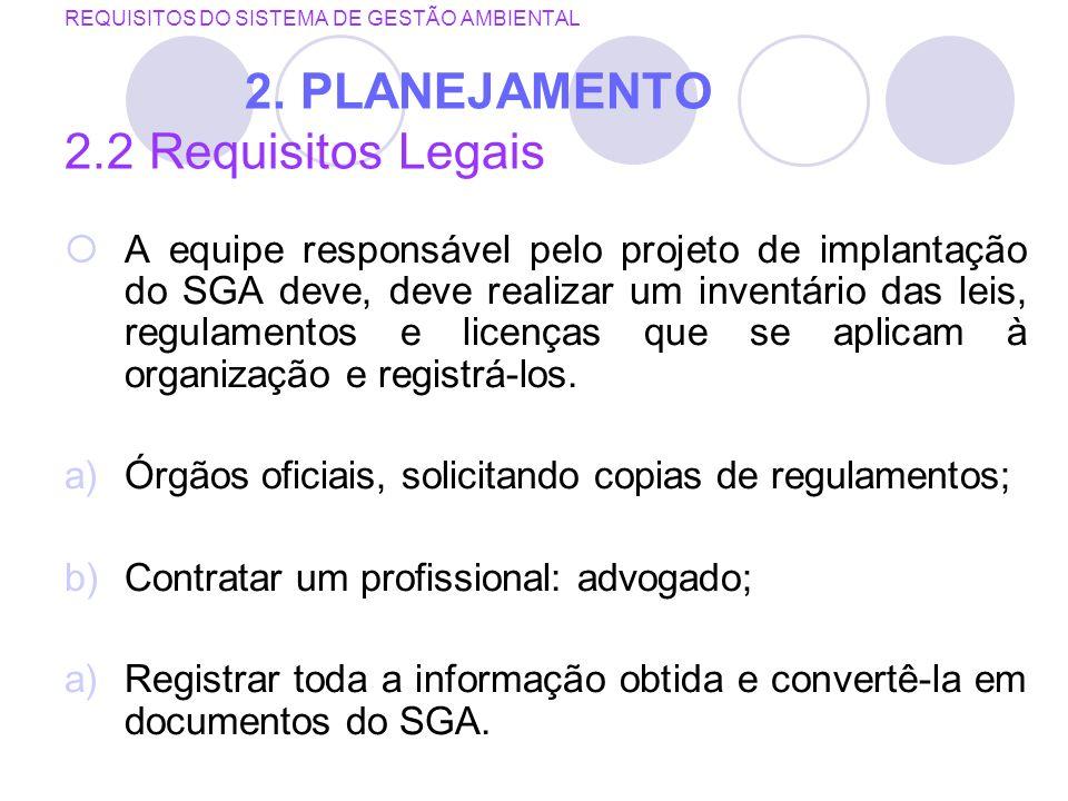 REQUISITOS DO SISTEMA DE GESTÃO AMBIENTAL 2. PLANEJAMENTO 2.2 Requisitos Legais A equipe responsável pelo projeto de implantação do SGA deve, deve rea