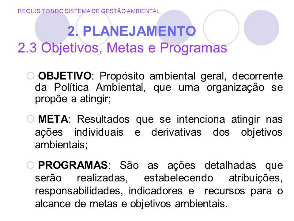 REQUISITOS DO SISTEMA DE GESTÃO AMBIENTAL 2. PLANEJAMENTO 2.3 Objetivos, Metas e Programas OBJETIVO: Propósito ambiental geral, decorrente da Política