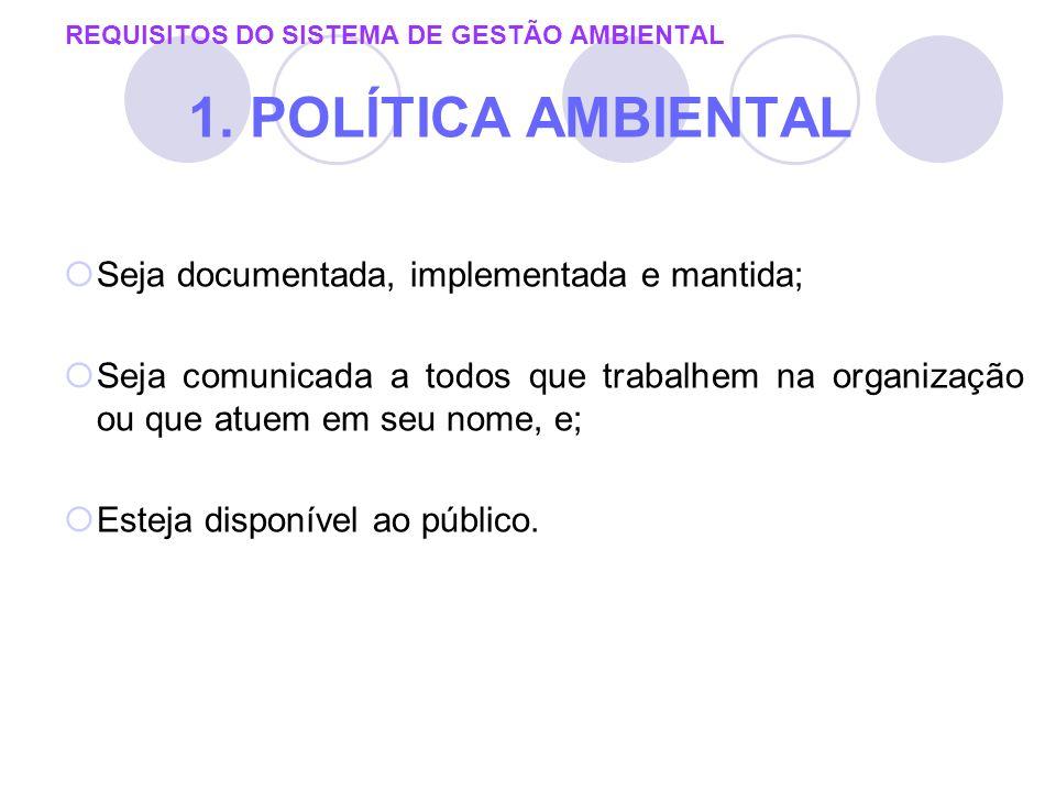 REQUISITOS DO SISTEMA DE GESTÃO AMBIENTAL 1. POLÍTICA AMBIENTAL Seja documentada, implementada e mantida; Seja comunicada a todos que trabalhem na org