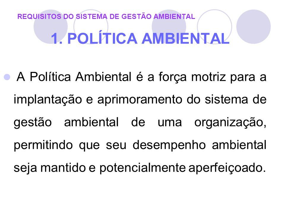 REQUISITOS DO SISTEMA DE GESTÃO AMBIENTAL 1. POLÍTICA AMBIENTAL A Política Ambiental é a força motriz para a implantação e aprimoramento do sistema de