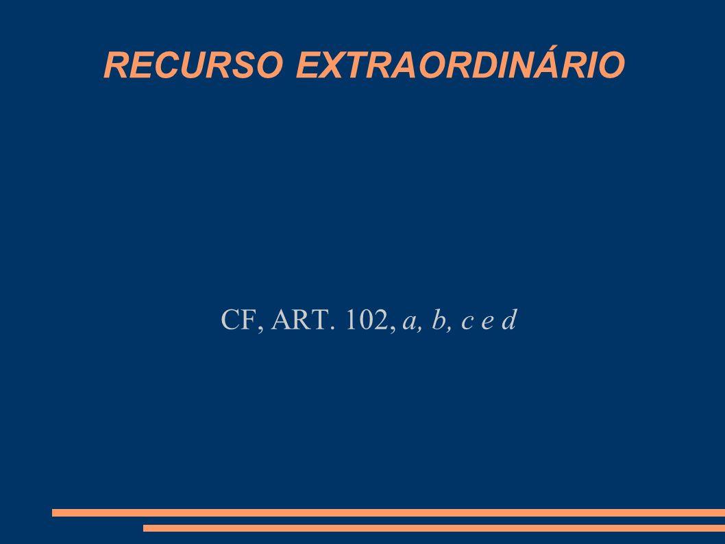 RECURSO EXTRAORDINÁRIO CF, ART. 102, a, b, c e d