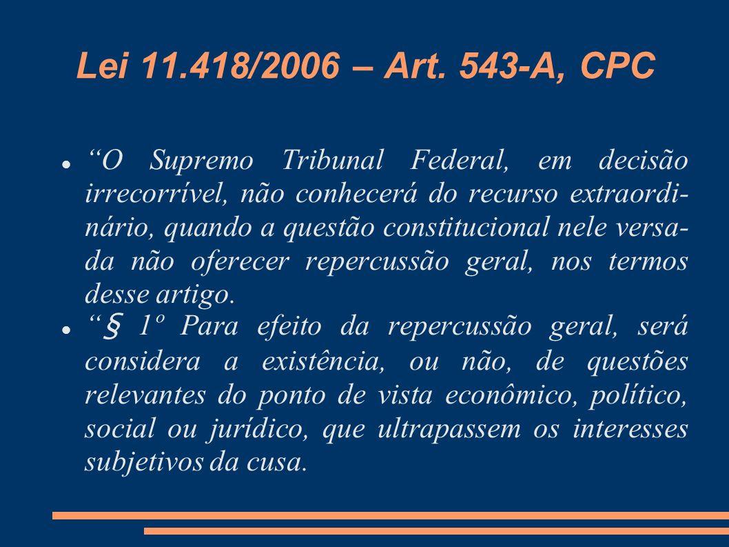 Lei 11.418/2006 – Art. 543-A, CPC O Supremo Tribunal Federal, em decisão irrecorrível, não conhecerá do recurso extraordi- nário, quando a questão con
