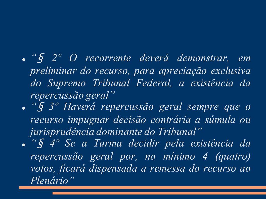 § 2º O recorrente deverá demonstrar, em preliminar do recurso, para apreciação exclusiva do Supremo Tribunal Federal, a existência da repercussão gera