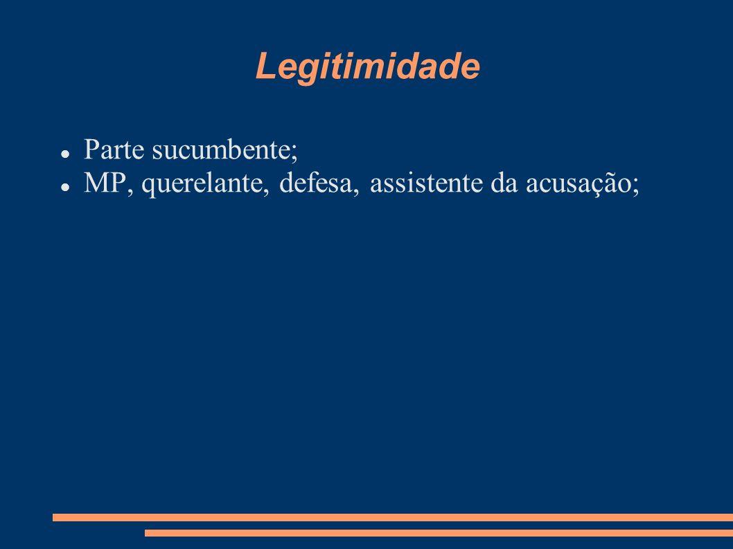 Legitimidade Parte sucumbente; MP, querelante, defesa, assistente da acusação;