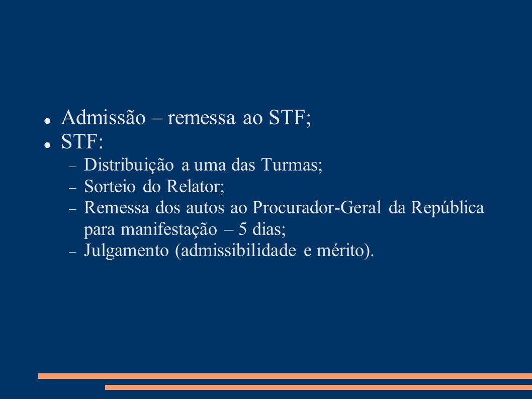 Admissão – remessa ao STF; STF: Distribuição a uma das Turmas; Sorteio do Relator; Remessa dos autos ao Procurador-Geral da República para manifestaçã