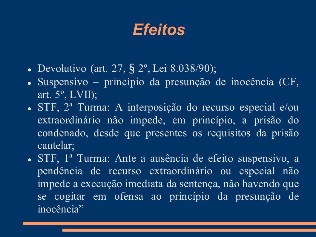 Efeitos Devolutivo (art. 27, § 2º, Lei 8.038/90); Suspensivo – princípio da presunção de inocência (CF, art. 5º, LVII); STF, 2ª Turma: A interposição