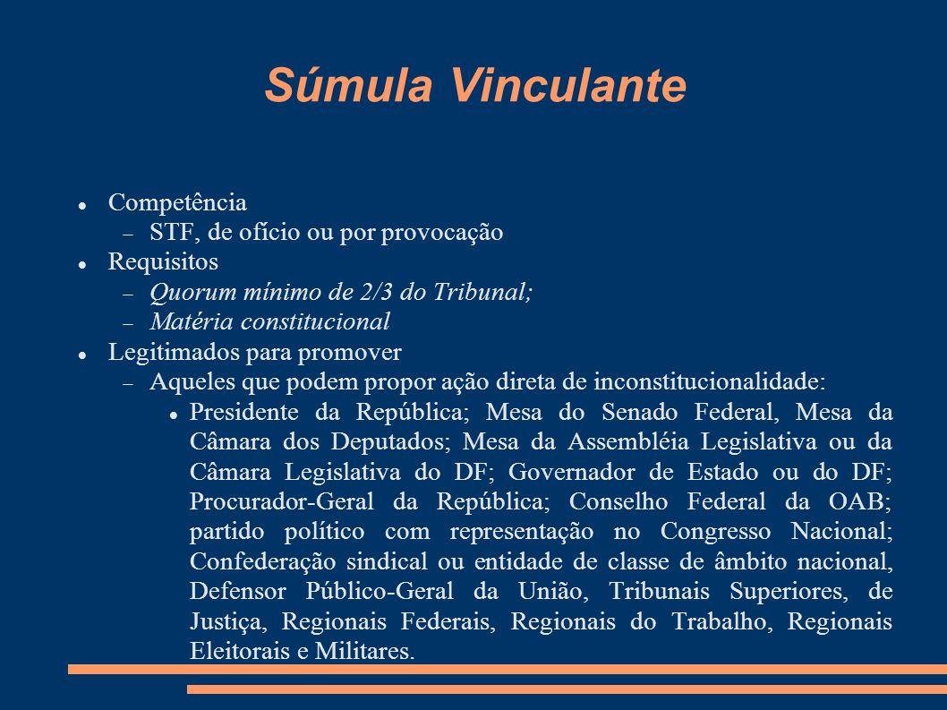 Súmula Vinculante Competência STF, de ofício ou por provocação Requisitos Quorum mínimo de 2/3 do Tribunal; Matéria constitucional Legitimados para pr