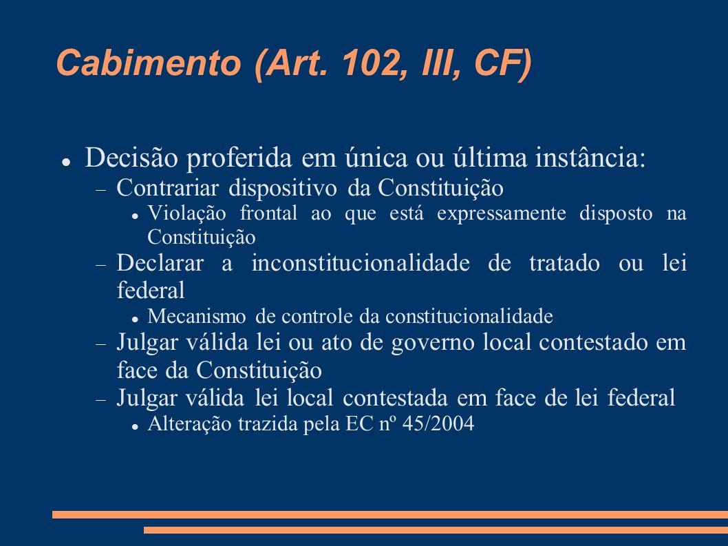Cabimento (Art. 102, III, CF) Decisão proferida em única ou última instância: Contrariar dispositivo da Constituição Violação frontal ao que está expr