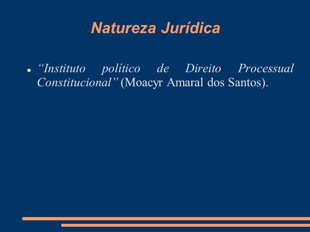 Natureza Jurídica Instituto político de Direito Processual Constitucional (Moacyr Amaral dos Santos).