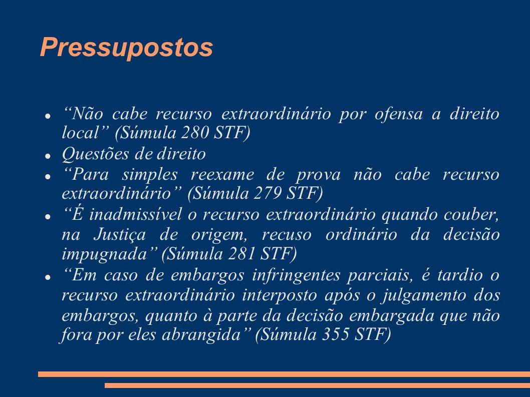 Pressupostos Não cabe recurso extraordinário por ofensa a direito local (Súmula 280 STF) Questões de direito Para simples reexame de prova não cabe re