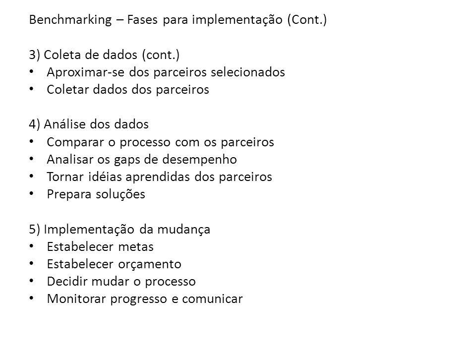 Benchmarking – Fases para implementação (Cont.) 3) Coleta de dados (cont.) Aproximar-se dos parceiros selecionados Coletar dados dos parceiros 4) Anál