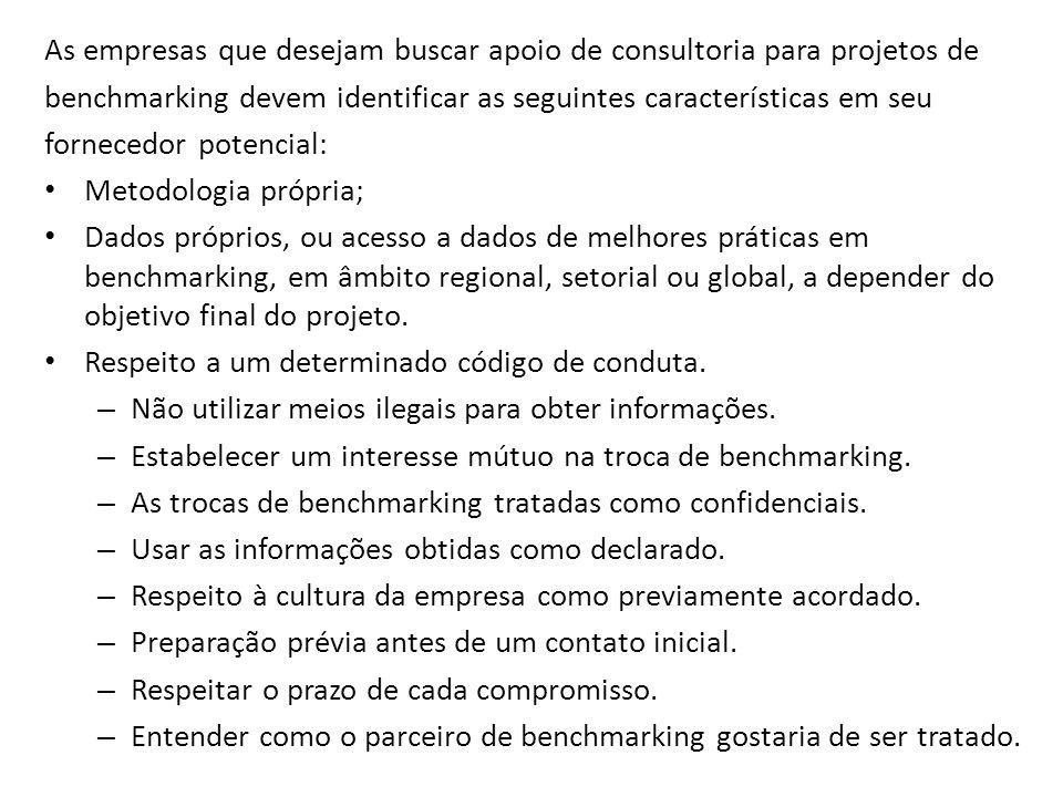 As empresas que desejam buscar apoio de consultoria para projetos de benchmarking devem identificar as seguintes características em seu fornecedor pot