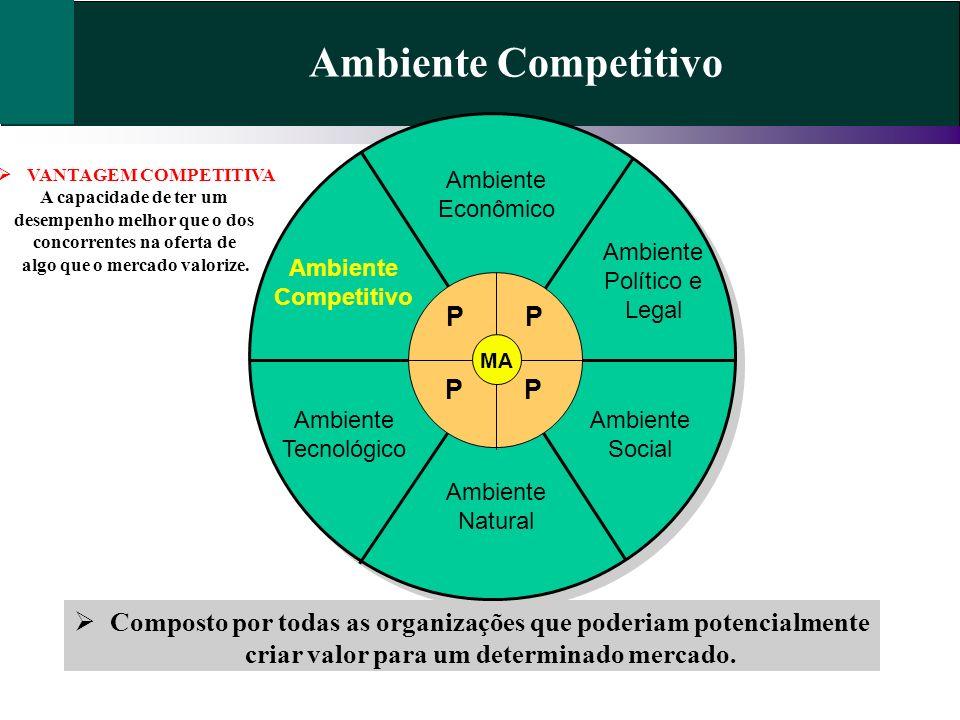 Ambiente Competitivo Composto por todas as organizações que poderiam potencialmente criar valor para um determinado mercado. Ambiente Econômico Ambien
