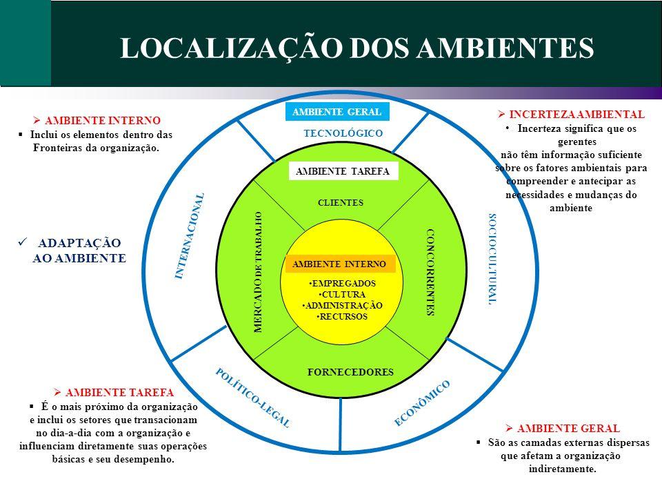 LOCALIZAÇÃO DOS AMBIENTES EMPREGADOS CULTURA ADMINISTRAÇÃO RECURSOS AMBIENTE TAREFA CLIENTES CONCORRENTES FORNECEDORES MERCADO DE TRABALHO AMBIENTE GE