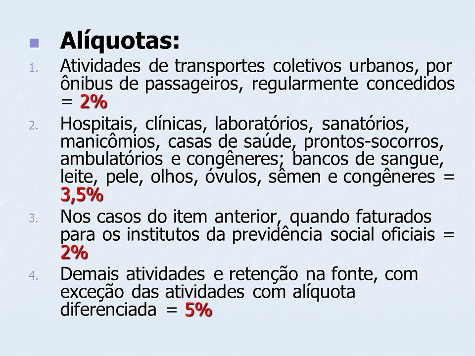 Alíquotas: Alíquotas: 1. Atividades de transportes coletivos urbanos, por ônibus de passageiros, regularmente concedidos = 2% 2. Hospitais, clínicas,