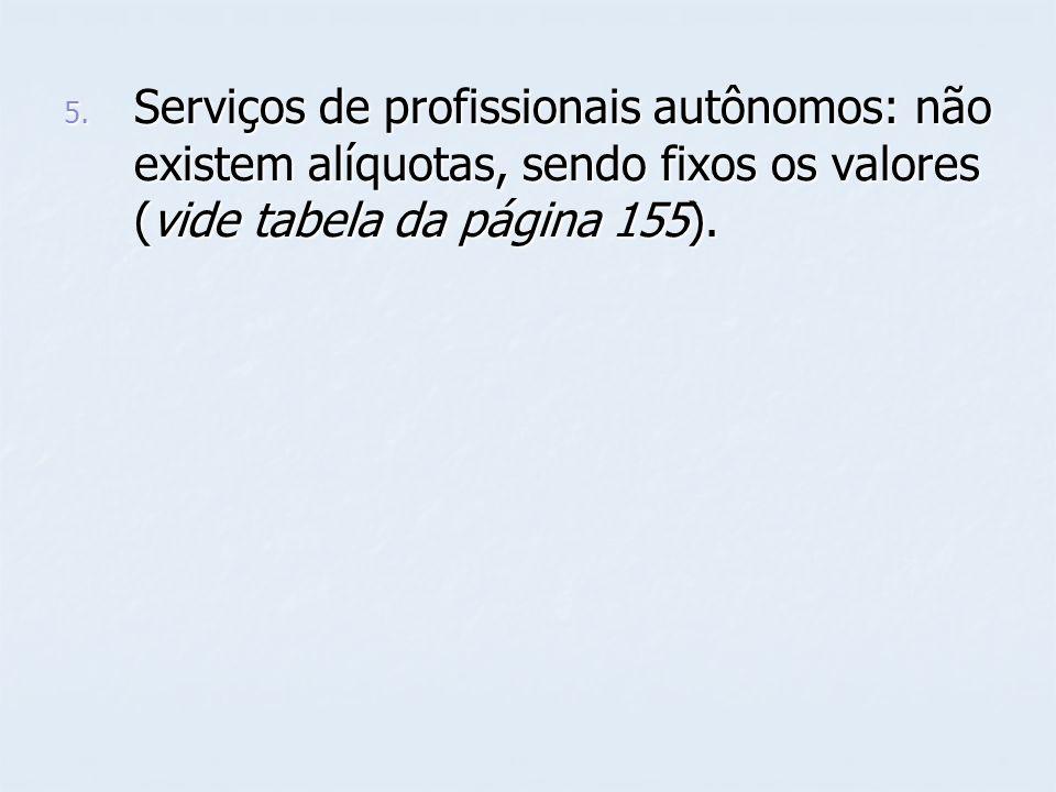 5. Serviços de profissionais autônomos: não existem alíquotas, sendo fixos os valores (vide tabela da página 155).