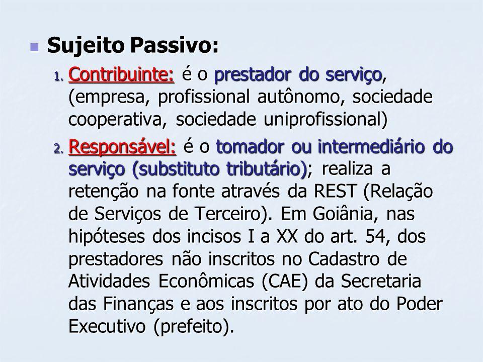 Sujeito Passivo: Sujeito Passivo: 1. Contribuinte: é o prestador do serviço, (empresa, profissional autônomo, sociedade cooperativa, sociedade uniprof