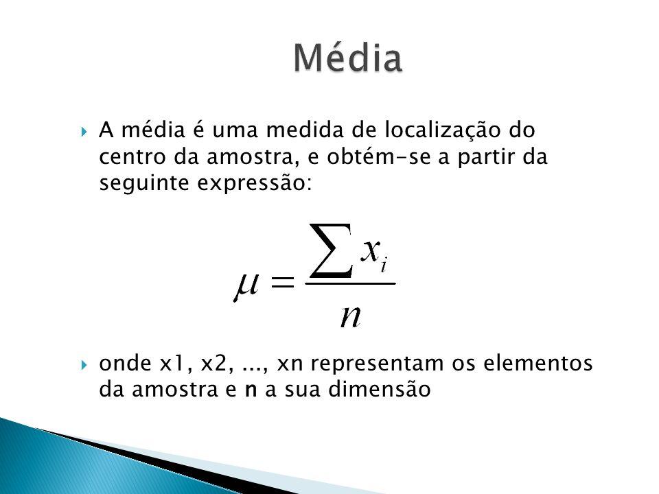 A média é uma medida de localização do centro da amostra, e obtém-se a partir da seguinte expressão: onde x1, x2,..., xn representam os elementos da a